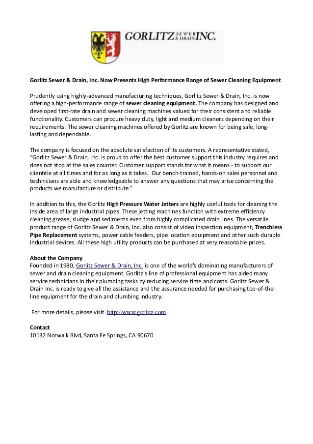 Gorlitz Sewer & Drain, Inc. Now Presents High Performance Range of Sewer Cleaning Equipment Prudently using highly-advance...
