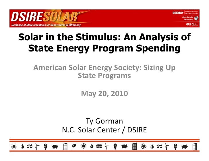 IREC/NCSC/DSIRE: Solar in the stimulus: analysis of state energy program spending