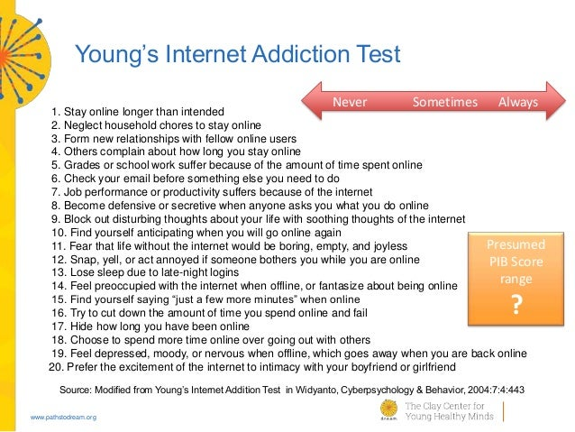 internet addiction 4 essay Internet addiction essay examples 2066 words oct 19th, 1999 9 pages research paper theme: social impact of the internet 8 october 1997 abstract the internet is the largest source of information in the world today.