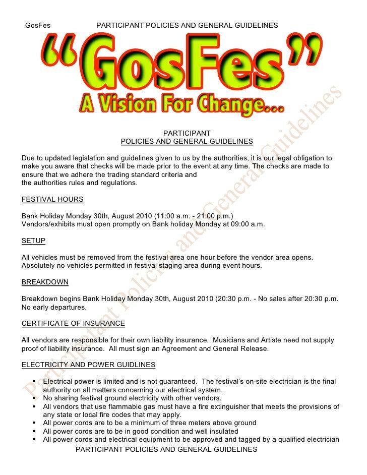 Gos Fes Participant Policies Application Form