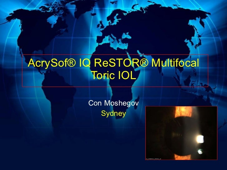AcrySof® IQ ReSTOR® Multifocal Toric IOL Con Moshegov Sydney