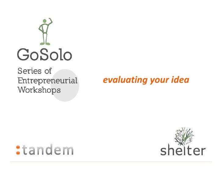 evaluating your idea