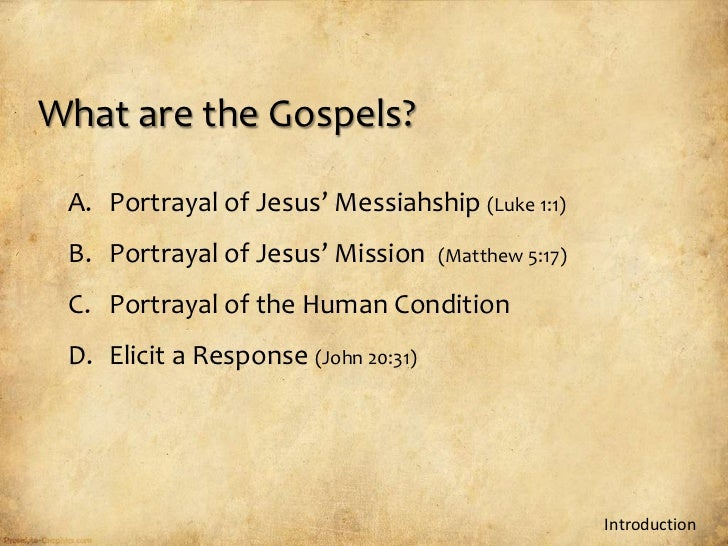 the portrayal of jesus in the gospels of matthew mark luke and john The gospel of john is often used to try  used by mark (vv 1:6-8, 15) and by matthew and luke  by the synoptic gospels in their portrayal of jesus as.