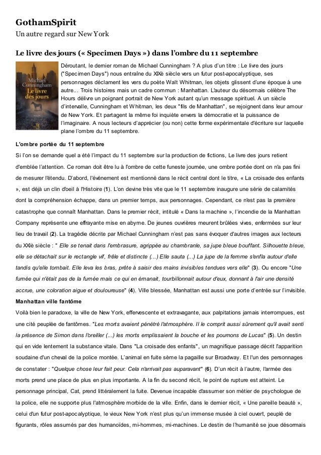 GothamSpirit Un autre regard sur New York Le livre des jours (« Specimen Days ») dans l'ombre du 11 septembre Déroutant, l...