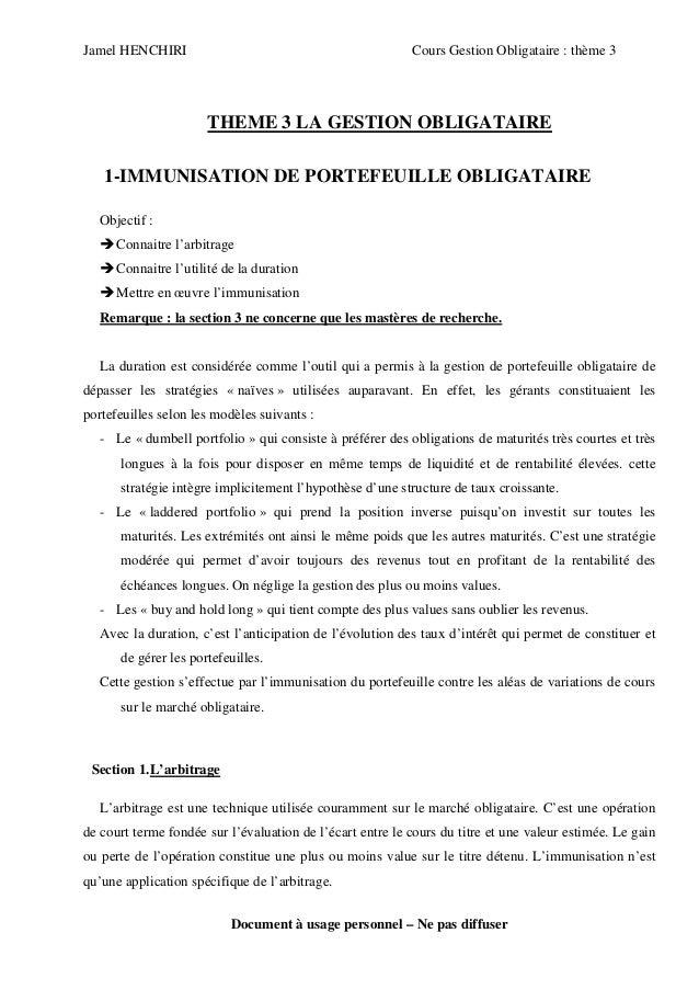 Jamel HENCHIRI                                             Cours Gestion Obligataire : thème 3                       THEME...