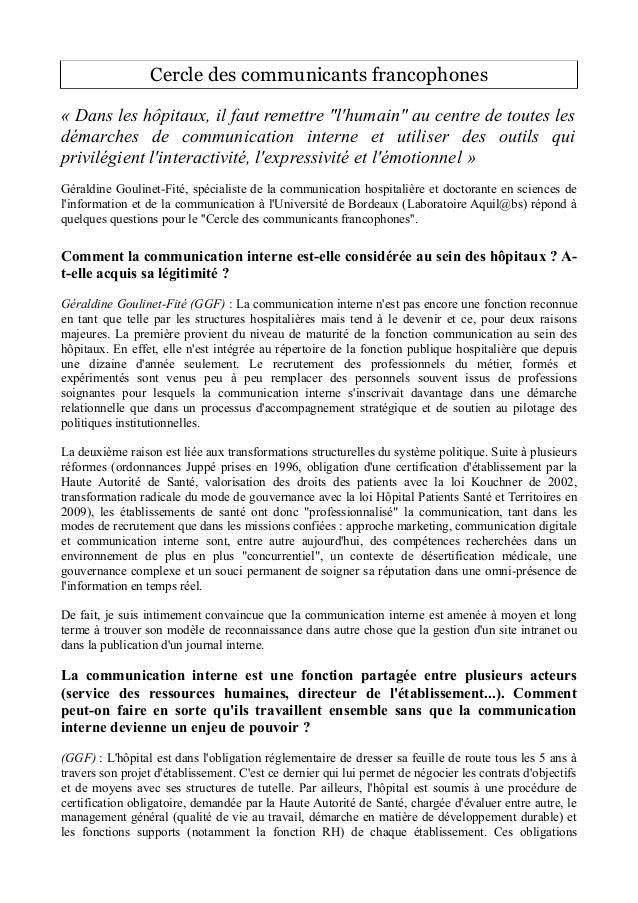 """Cercle des communicants francophones  « Dans les hôpitaux, il faut remettre """"l'humain"""" au centre de toutes les  démarches ..."""