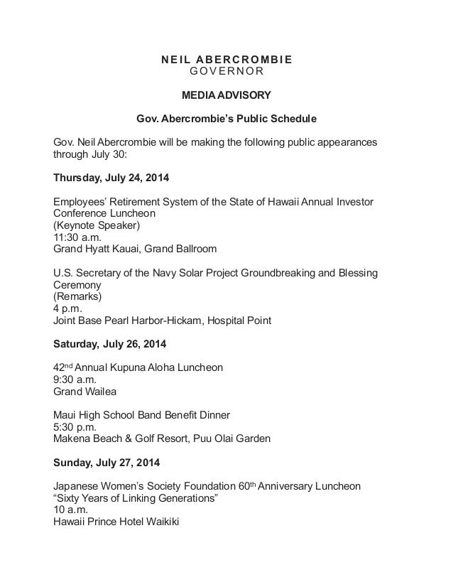 Gov. neil abercrombie's schedule pdf