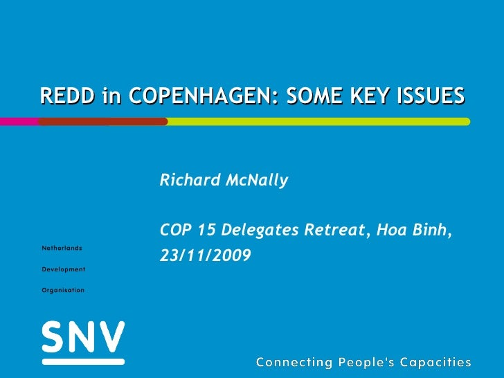 REDD in COPENHAGEN: SOME KEY ISSUES Richard McNally COP 15 Delegates Retreat, Hoa Binh, 23/11/2009