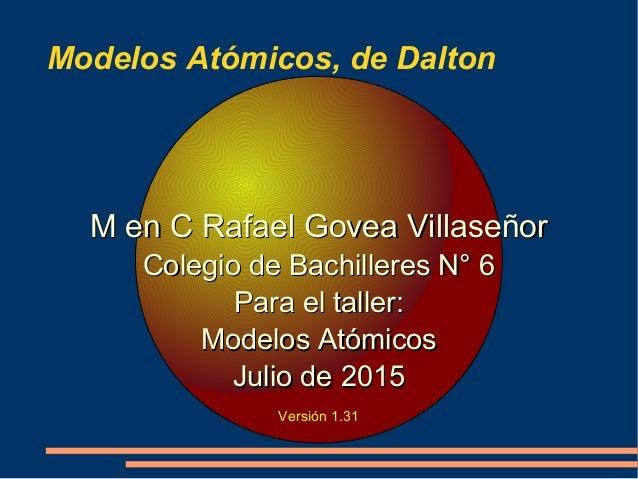Modelos Atómicos, de Dalton Versión 1.3 M en C Rafael Govea VillaseñorM en C Rafael Govea Villaseñor Colegio de Bachillere...