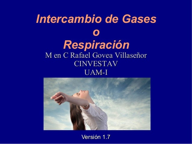 Intercambio de Gases o Respiración M en C Rafael Govea VillaseñorM en C Rafael Govea Villaseñor CINVESTAVCINVESTAV UAM-IUA...