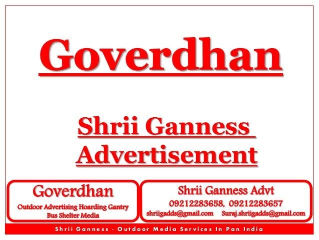 Shrii Ganness Advertisement Goverdhan  Outdoor Advertising Hoarding Gantry Bus Shelter Media  Shrii Ganness Advt  09212283...
