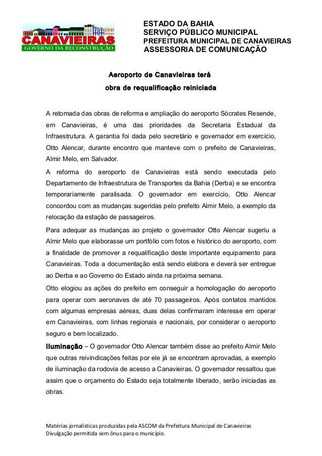 ESTADO DA BAHIA SERVIÇO PÚBLICO MUNICIPAL PREFEITURA MUNICIPAL DE CANAVIEIRAS  ASSESSORIA DE COMUNICAÇÃO Aeroporto de Cana...