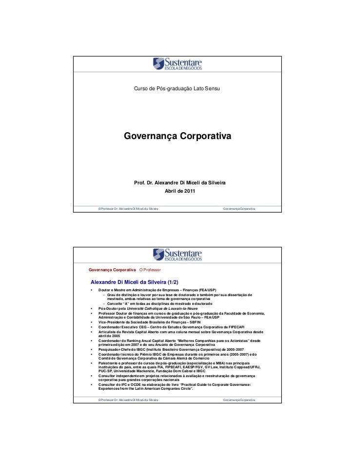 Curso de Pós-graduação Lato Sensu                        Governança Corporativa                                Prof. Dr. A...