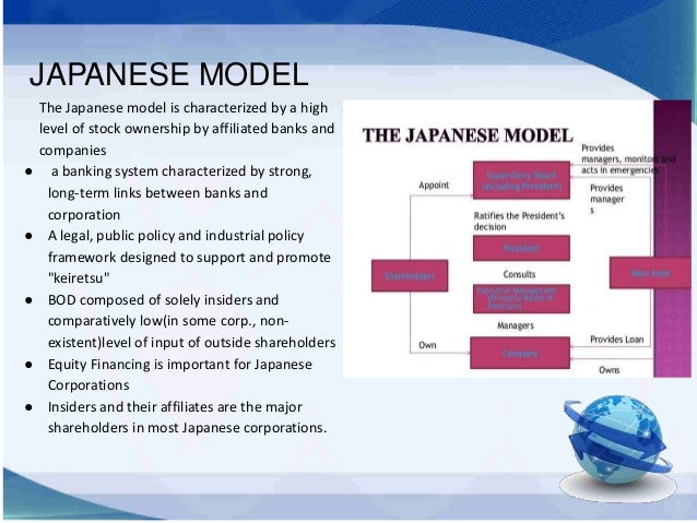 corporate governance us model japan model Previous government attempts to address such concerns included the introduction of outside directors and a new type of corporate governance based on the us model — company with committees (i'inkai secchi kaisha), comprised of an audit committee, nomination committee, and compensation committee.