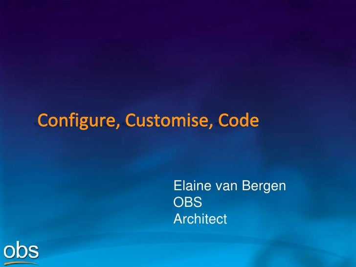 Governance Configure Customise Code
