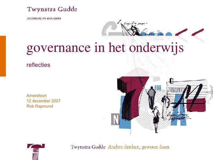 Governance In Onderwijs, vs december 2007