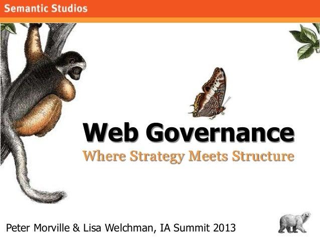 morville@semanticstudios.com               Web Governance               Where Strategy Meets StructurePeter Morville & Lis...