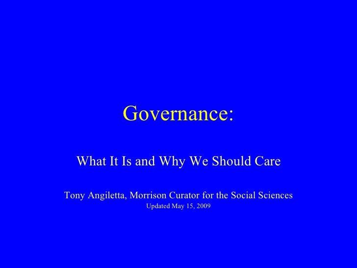 Governance 15 May 2009 1