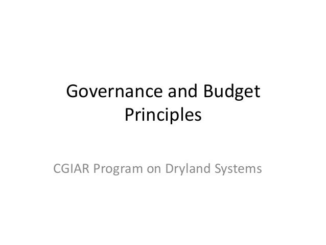 Governance and budget principles wads