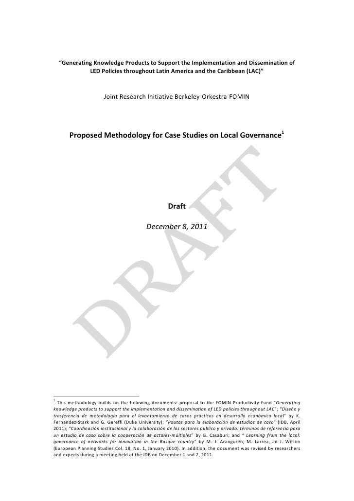 Governance Case Studies Methodology_Draft