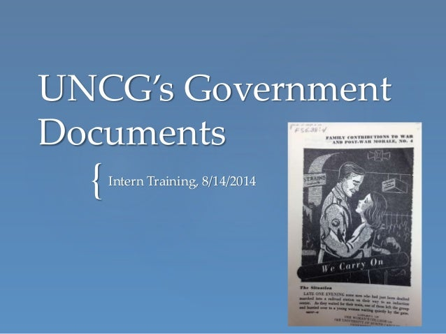 { UNCG's Government Documents Intern Training, 8/14/2014