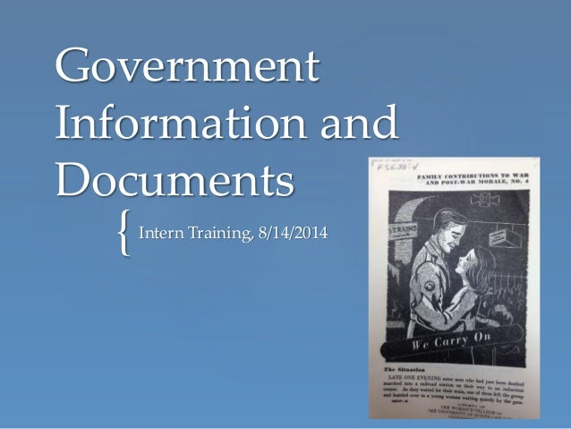 { Government Information and Documents Intern Training, 8/14/2014