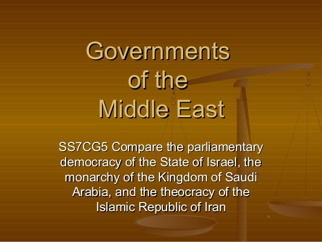 Governments of the Middle East SS7CG5 Compare the parliamentary democracy of the State of Israel, the monarchy of the King...