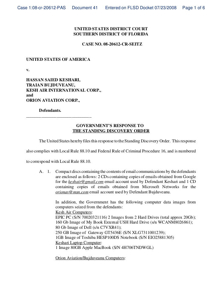 Case 1:08-cr-20612-PAS        Document 41        Entered on FLSD Docket 07/23/2008            Page 1 of 6                 ...