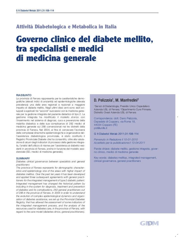 Governo clinico del diabete mellito, tra specialisti e medici di medicina generale