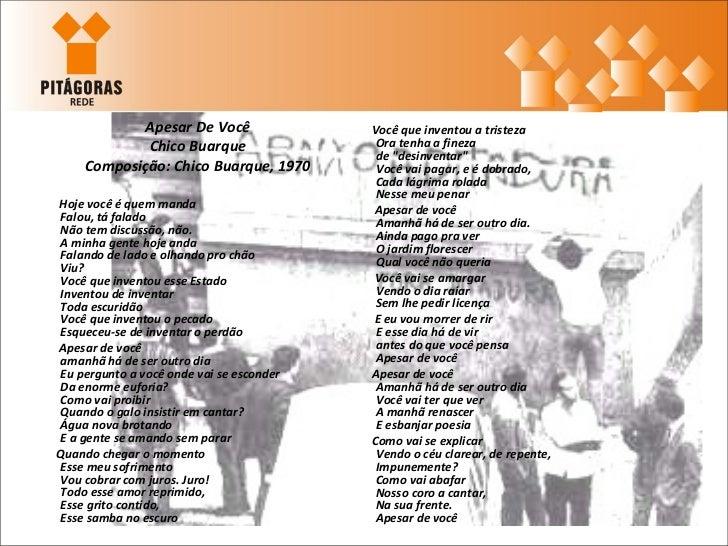 <ul><li>Apesar De Você </li></ul><ul><li>Chico Buarque </li></ul><ul><li>Composição: Chico Buarque, 1970 </li></ul><ul><li...