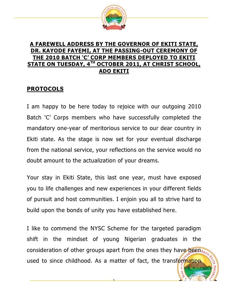A FAREWELL ADDRESS BY THE GOVERNOR OF EKITI STATE, DR. KAYODE FAYEMI, AT THE PASSING-OUT CEREMONY OF  THE 2010 BATCH 'C'...