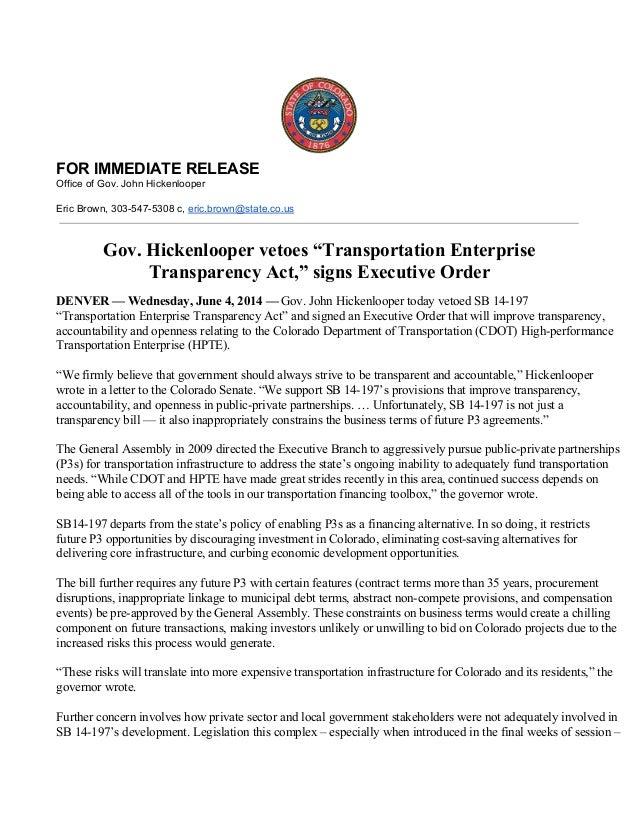 Gov hickenlooper 2014 06-04 sb197vetorelease