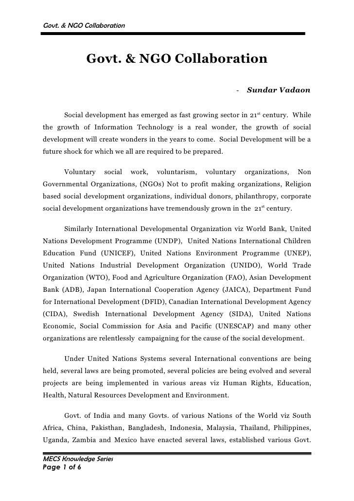 Govt  & Ngo Collaboration