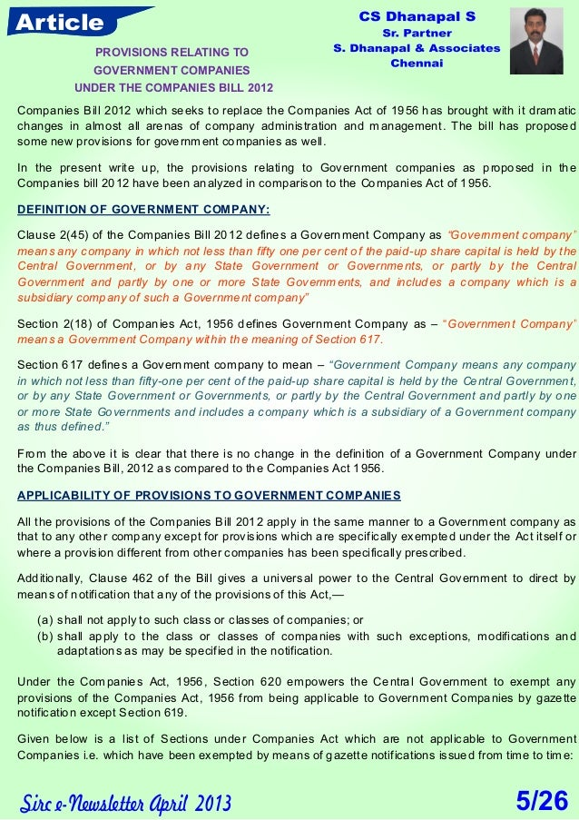 Article Sirc e-Newsletter April 2013 Companies Bill 2012 which seeks to replace the Companies Act of 1956 has brought with...