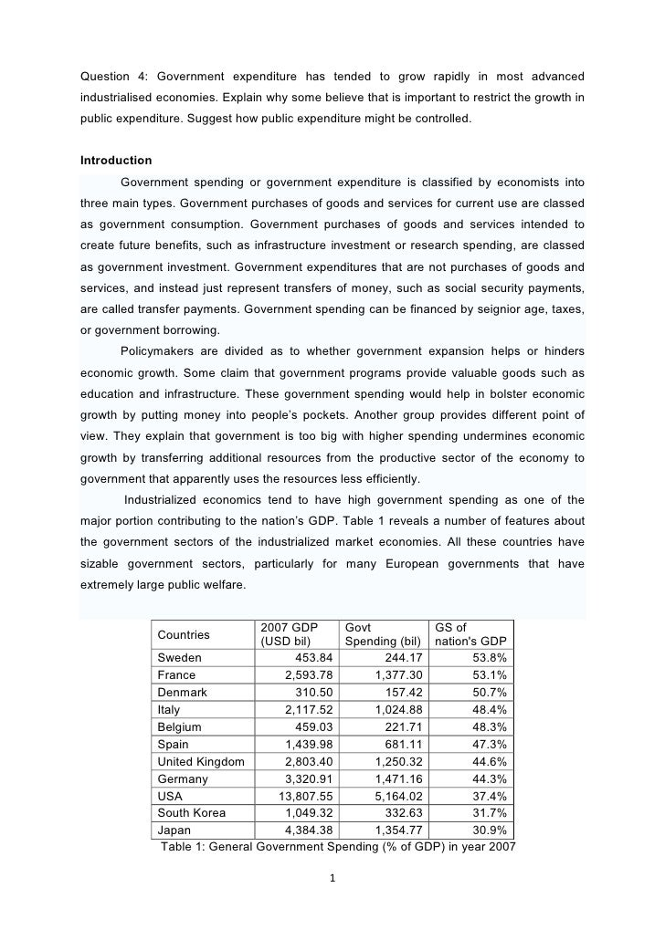 Govt expenditure