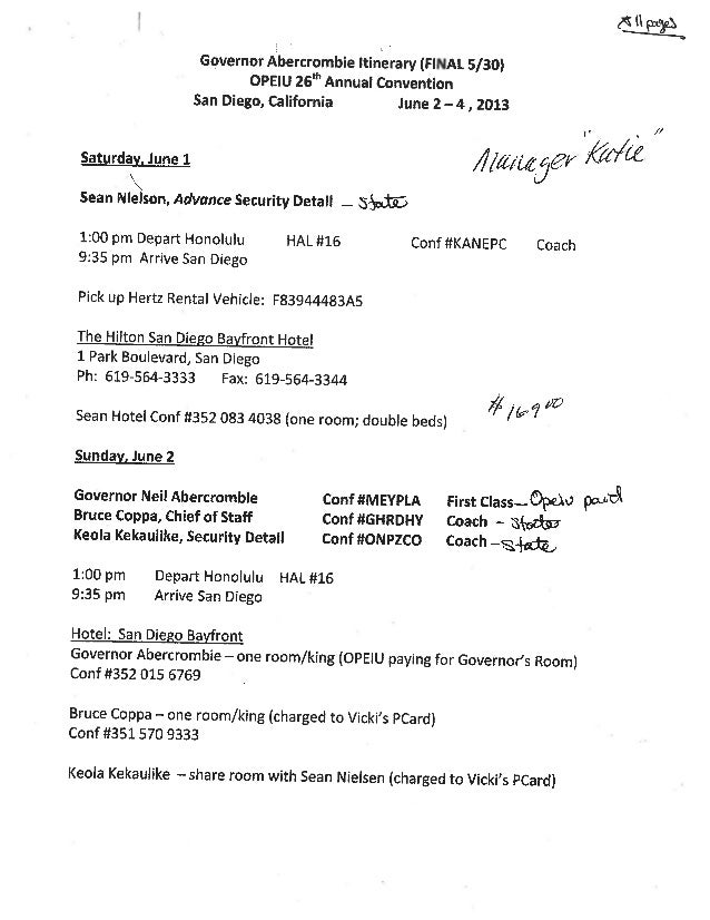 Hawaii Governor Travel Records June 2013