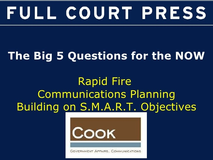 The Big 5 Questions for the NOW Rapid Fire  Communications Planning Building on S.M.A.R.T. Objectives