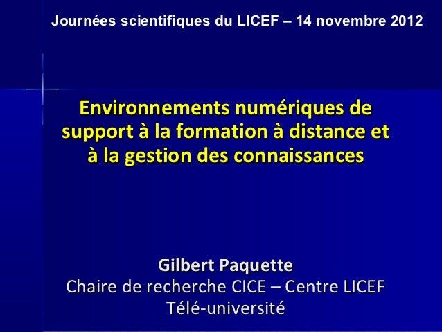 Synthèse des travaux du licef sur les outils et les environnements de formations - 14.11.12 2
