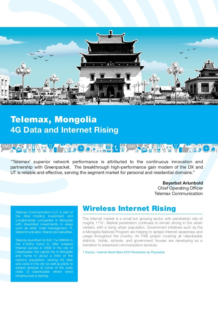 "Telemax, Mongolia4G Data and Internet Rising""Telemax' superior network performance is attributed to the continuous innovat..."
