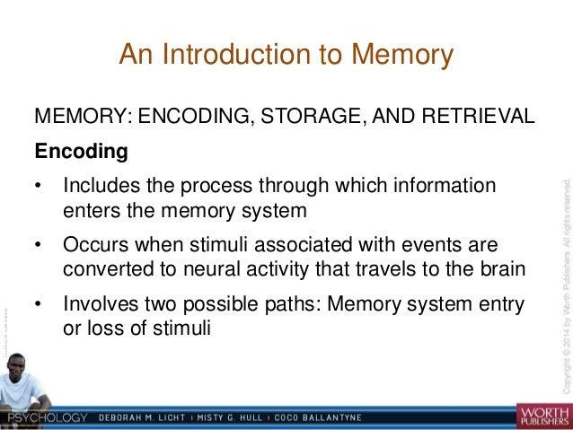 memories encoding storage and retrieval