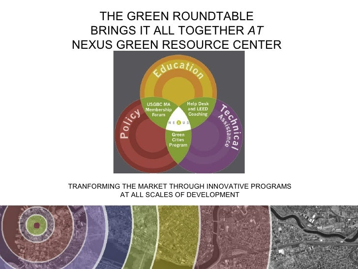 TRANFORMING THE MARKET THROUGH INNOVATIVE PROGRAMS AT ALL SCALES OF DEVELOPMENT THE GREEN ROUNDTABLE BRINGS IT ALL TOGETHE...