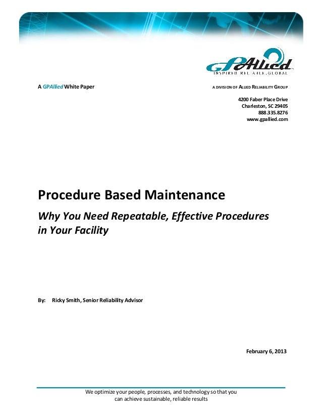 Procedure Based Maintenance White Paper