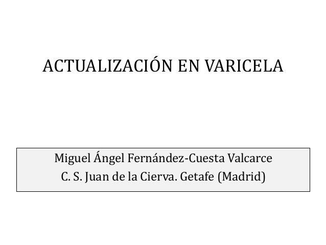ACTUALIZACIÓN EN VARICELA  Miguel Ángel Fernández-Cuesta Valcarce C. S. Juan de la Cierva. Getafe (Madrid)