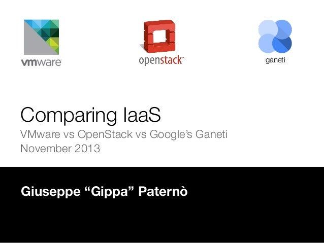 """ganeti  Comparing IaaS VMware vs OpenStack vs Google's Ganeti November 2013  Giuseppe """"Gippa"""" Paternò"""