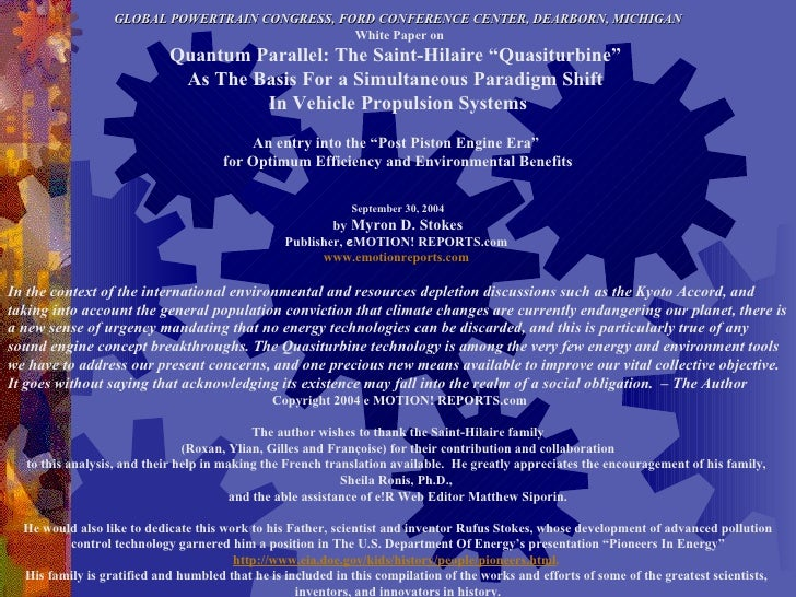GLOBAL POWERTRAIN CONGRESS, FORD CONFERENCE CENTER, DEARBORN, MICHIGAN White Paper on Quantum Parallel: The Saint-Hilaire ...