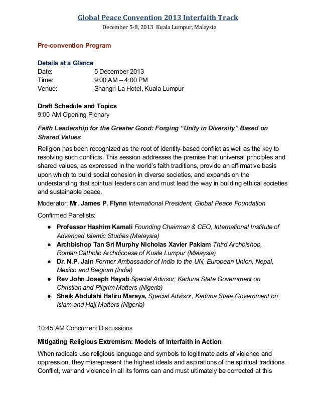 Global Peace Convention 2013 Interfaith Track December 5-8, 2013 Kuala Lumpur, Malaysia  PreconventionProgram Detailsat...