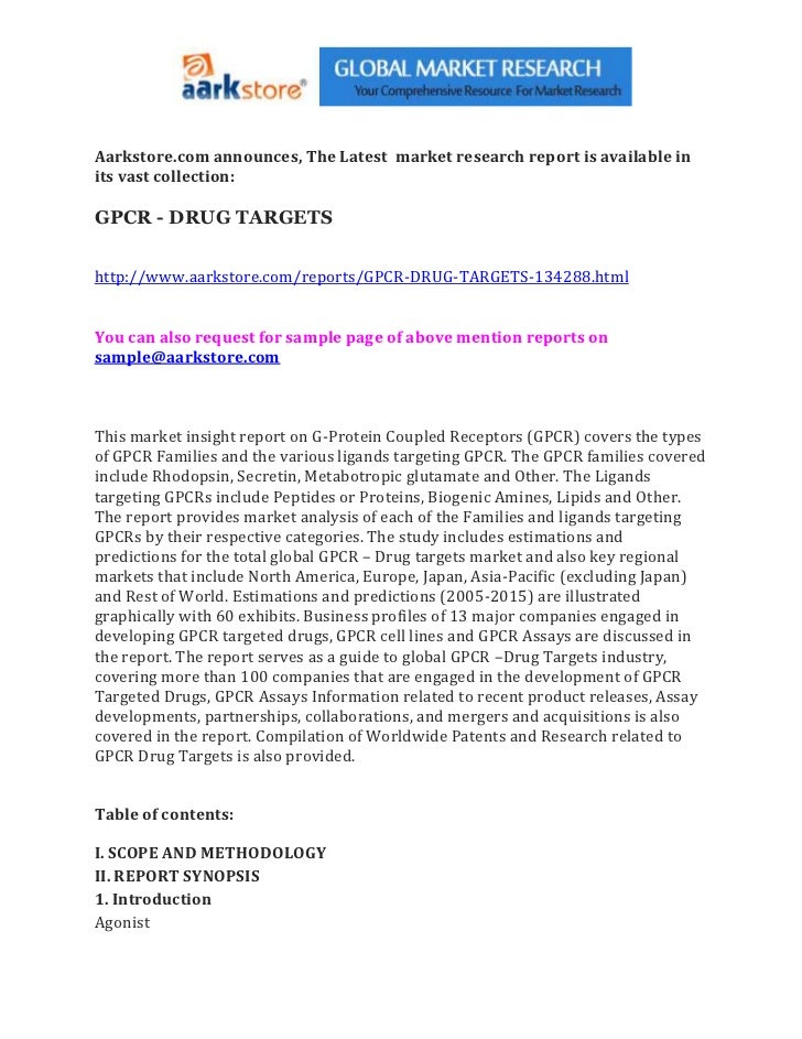 Aarkstore.com announces, The Latest market research report is available inits vast collection:GPCR - DRUG TARGETShttp://ww...
