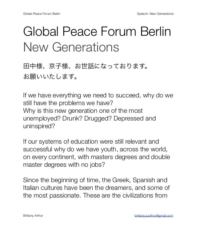 Global Peace Forum Berlin!   !   !       !       !       !       !    Speech: New GenerationsGlobal Peace Forum BerlinNew ...