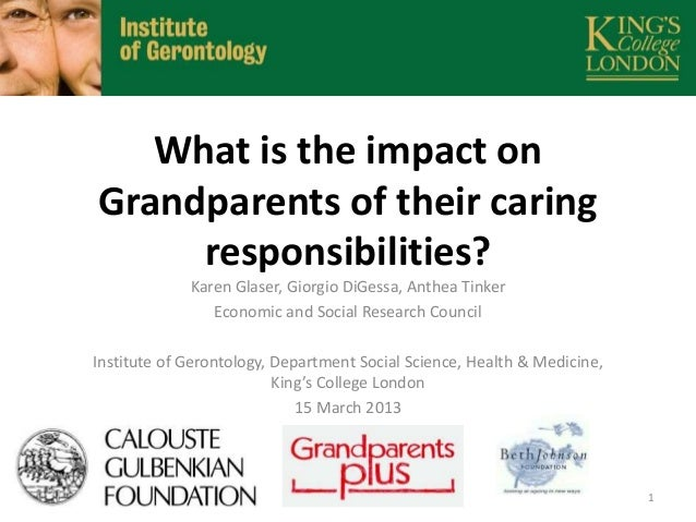 What is the impact on Grandparents of their caring responsibilities? Karen Glaser, Giorgio DiGessa, Anthea Tinker Economic...
