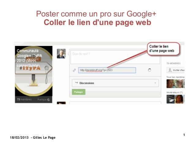 Poster comme un pro sur Google+                 Coller le lien dune page web                                              ...